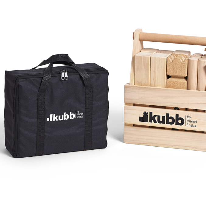 Kubb is an addictive and seriously good outdoor battle game from Sweden.  Also known as Viking Chess, Kubb is the perfect way to deliver laughs and entertainment at your next outdoor get together.  Kubb is easy to learn and with each team having between one and six players, Kubb will happily entertain a larger group.  The aim of Kubb is to capture all ten soldiers before taking down the King for victory.�