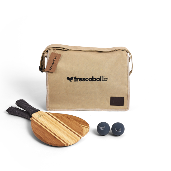 <p>Our Frescobol or Brasilian paddle bat sets come with two premium paddle bats, two balls and canvas satchel with shoulder strap. Byron bats are crafted from beautiful two tone bamboo.&nbsp;</p><p>&nbsp;</p><p>&nbsp;</p>