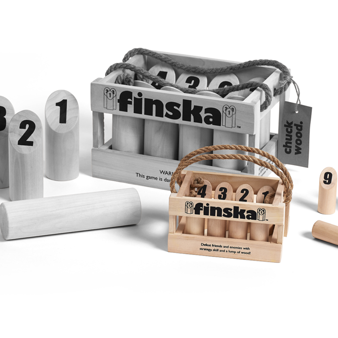 Our mini sized version of Original Finska crafted from natural unfinished birch.  Finska can now be played indoors!