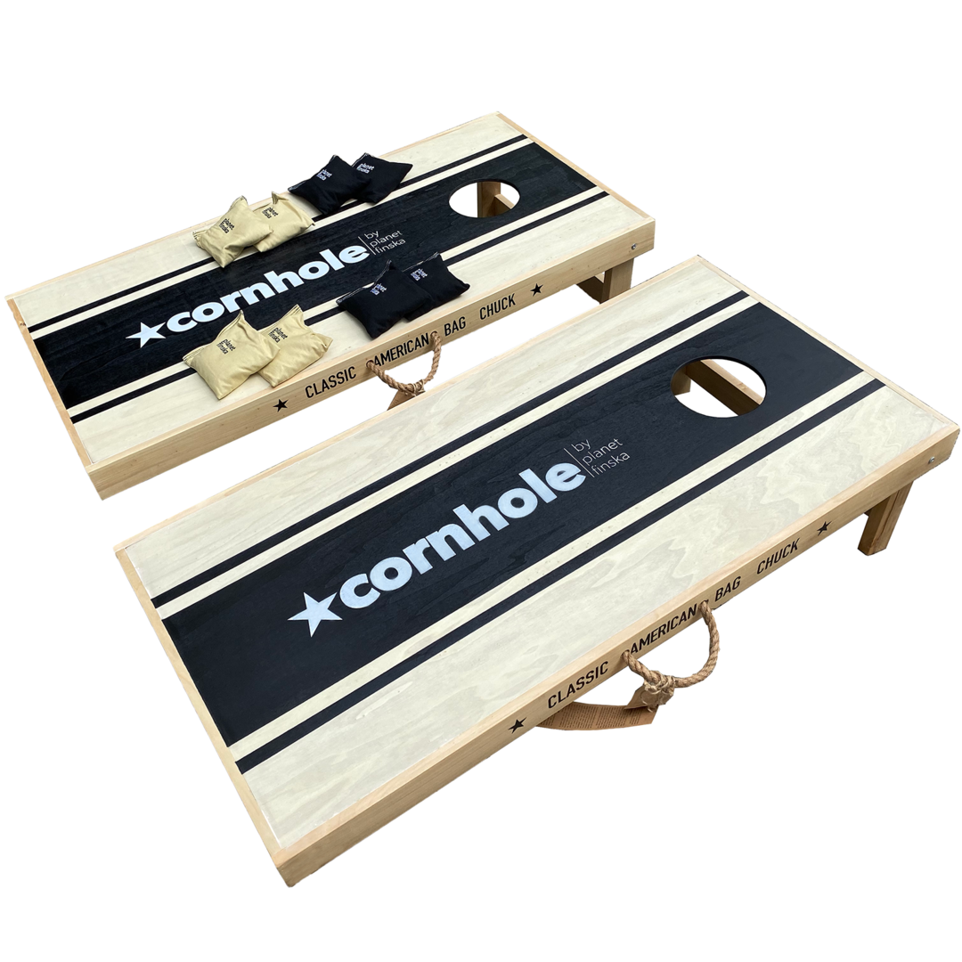 <p>New for 2019, Cornhole Competition sets have full length boards. This set has two competition sized boards, and 8 heavy duty canvas cornhole bags (4 black and 4 khaki).&nbsp; One of the boards has a storage drawer underneath to store the bags when not in use. Each board is 120cm x 60cm. FREE DELIVERY AUSTRALIA WIDE</p>