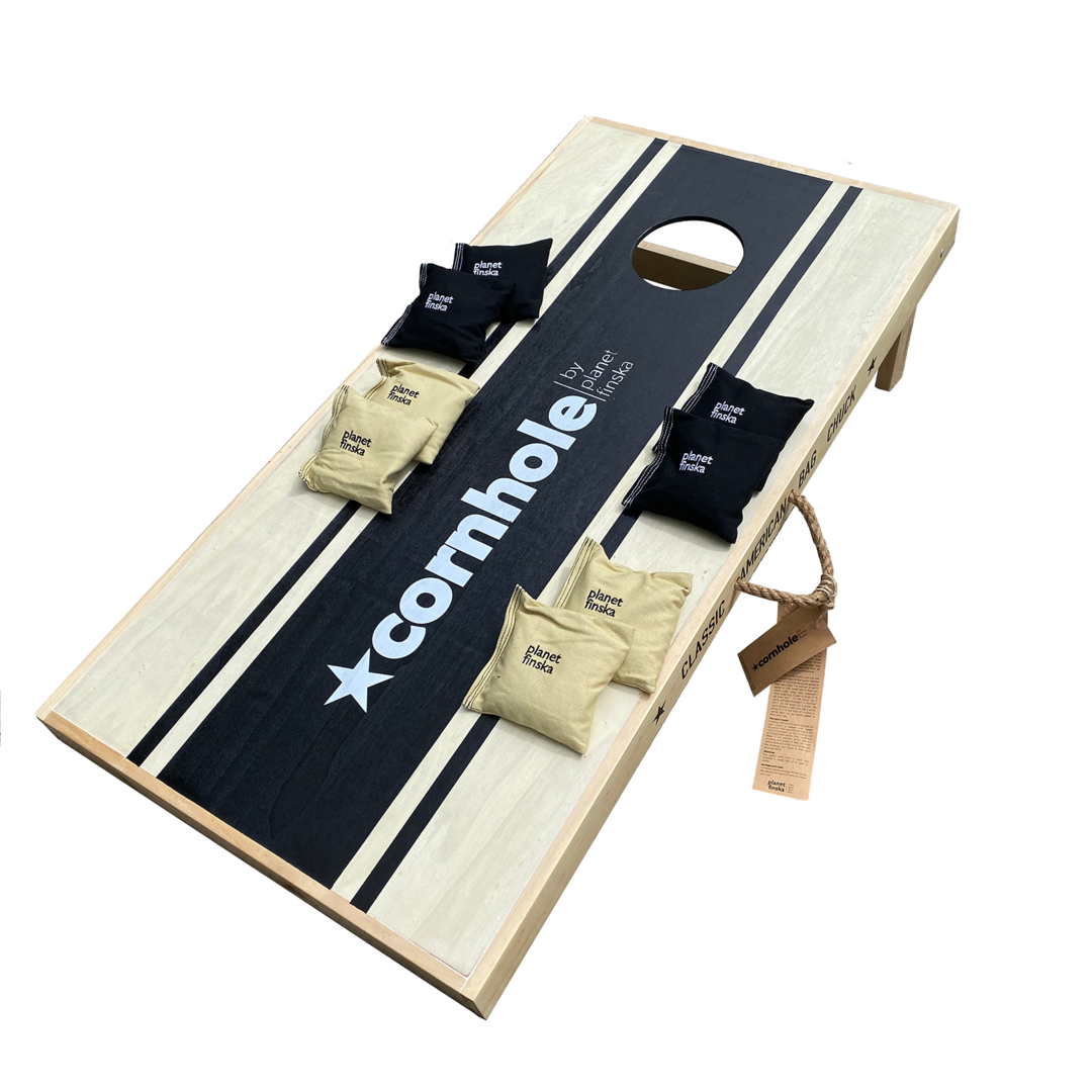 <p>New for 2019, Cornhole Competition sets have full length boards. This set has one competition sized board, and 8 heavy duty canvas cornhole bags (4 black and 4 khaki).&nbsp; The board has a storage drawer underneath to store the bags when not in use. Each board is 120cm x 60cm. FREE DELIVERY AUSTRALIA WIDE.</p>
