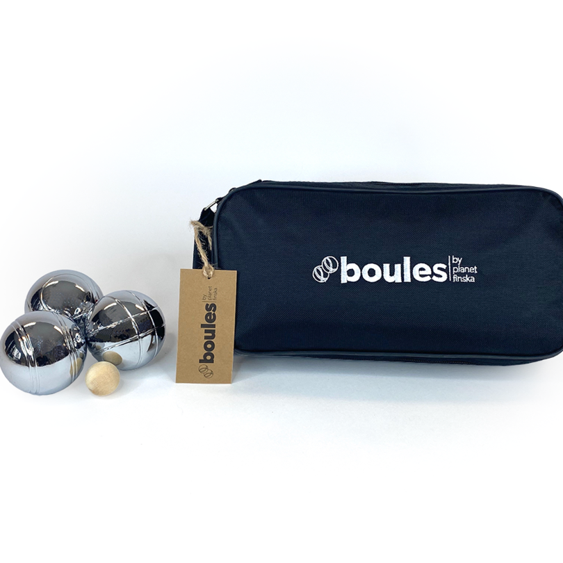 This original set of boules comes in a heavy duty nylon carry bag and comprises eight polished steel boules, one wooden cachonet (unvarnished) and measuring string with plastic toggle.  The eight boules are designed with one of four distinct patterns where each player has either one or two pairs of boules of the same pattern. Boules by Planet Finska also comes with easy to follow rules of the game.