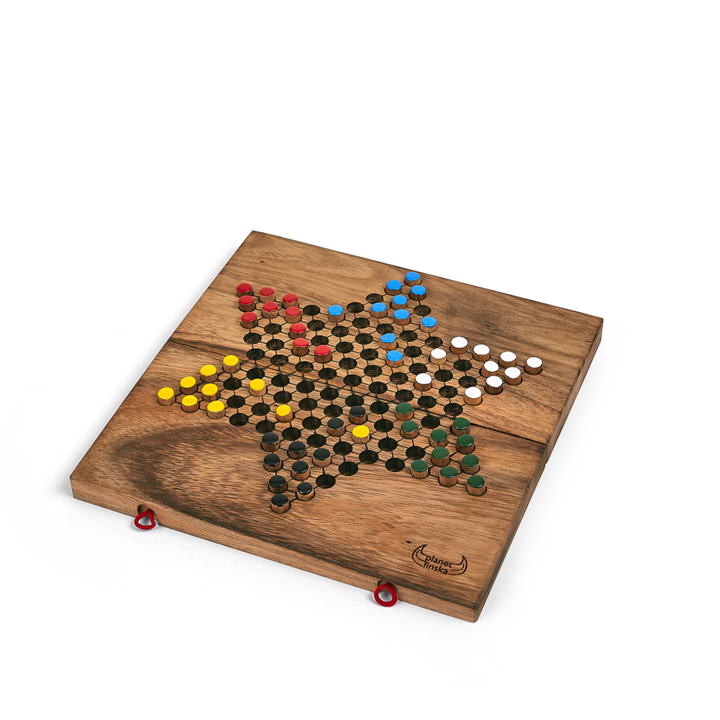 <p>This family classic was surprisingly not invented in China. Chinese Checkers originated in Germany in 1892 as a star shaped version of the American game Halma. The 6 pointed star caters for 2, 3 or 6 players. Each player must hop their 10 pegs to the opposite star point before their opponents. Outwit by blocking your opponent or using their pegs to get home first. Chinese Checkers is a timeless favourite the world over. The game folds in half for easy storage of the timber handpainted pegs. 24.5cm x 12cm x 4.5cm (when folded).</p>