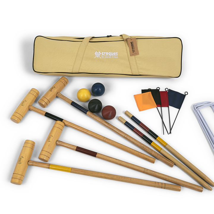 Our 4 player premium croquet set provides a step up for those wanting a more serious croquet experience. Each set includes: 4 chunky hardwood mallets, 4 full sized composite balls (84mm),9 enamel coated steel wickets (6mm), 2 solid hardwood stakes and 4 corner flags. Premium Croquet comes packed in our superior heavy duty canvas bag and includes official rules for both nine wicket backyard croquet and six wicket garden croquet. The bag also caters for future upgrade to a 6 mallet set should you wish to add that later.� -FREE DELIVERY AUSTRALIA WIDE-
