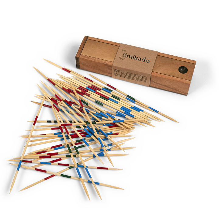 <p>When was the last time you played pick up sticks?&nbsp;&nbsp;Originating in Europe, the highest scoring stick was named the Mikado after the Emperor of Japan.&nbsp;&nbsp;In the USA and Australia, the game has widely been known as pick up sticks!&nbsp;&nbsp;Our version comes in a perfectly crafted timber box with sliding lid.&nbsp; 200mm x 50mm x 28mm</p>