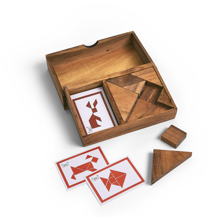 <p>Choose a card and race your opponent to complete one of 20 classic Tangram puzzles first.&nbsp; Or play solo and wrack your brains to complete one of 14 advanced puzzles that require both sets of puzzle pieces to solve.&nbsp; Our beautiful hardwood puzzle box includes two seven piece Tangram puzzles and 34 classic puzzle cards that will challenge you and your opponent for hours.</p>