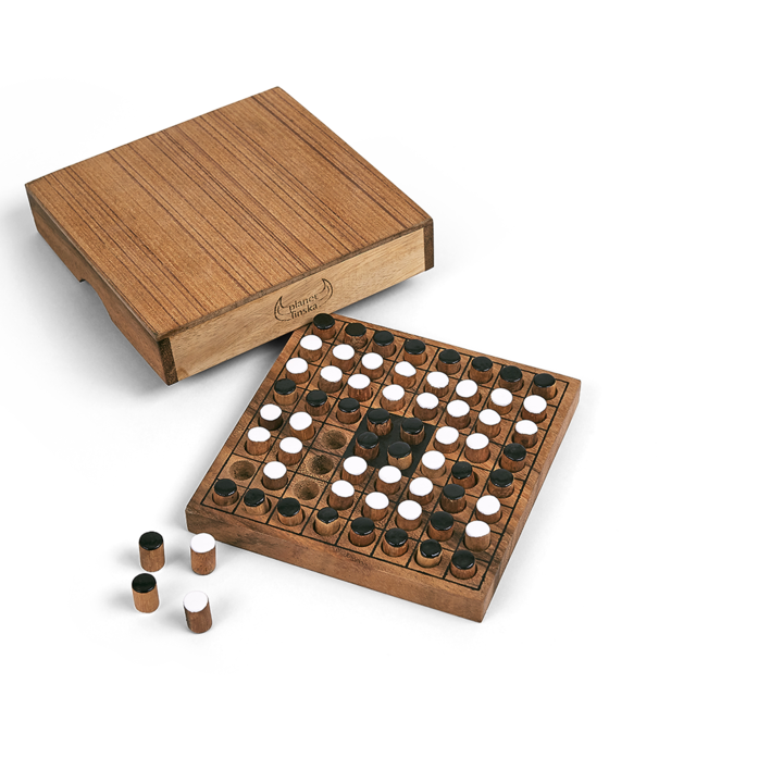 This addictive game of strategy is simple to learn and an excellent brain teaser. It dates back to the 18th Century and today is hugely popular in Japan where national championships are played. Players take turns to add one peg of their colour to the board. Any opposing pegs topped and tailed by your colour must flip over and reverse to your colour. The winner is the player with the most pegs on the board when the game ends. 135mm x 135mm x 35mm