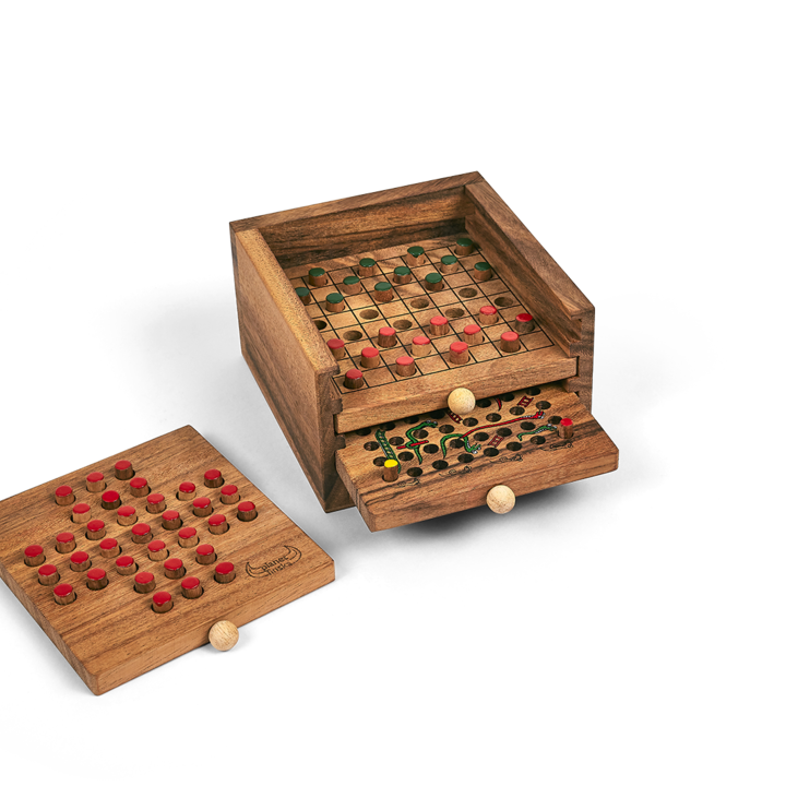 <p>This set of three classic table games is a handy and attractive addition to any coffee table. Don't turn on the TV, slide out a timber drawer and play draughts, snakes and ladders or solitaire at the drop of a hat. More social, more fun!&nbsp; Our three drawer game stack is beautifully crafted from eco friendly hardwood and includes easy to understand rule card for each of the classic games.&nbsp; Includes Snakes and Ladders, Draughts (Checkers) and Solitaire.&nbsp; 155mm x 160mm x 90mm.</p>