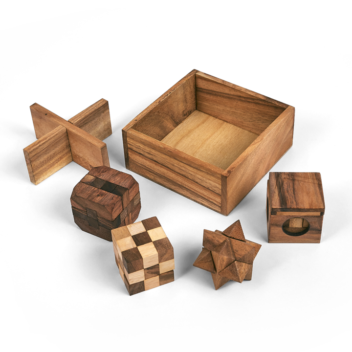 This set of 5 quality hardwood puzzles includes the Snake Cube, the Soma Cube, the Star Puzzle, the Diamond Cube and one tricky box. All fit nicely in a great timber box. The individual puzzles are approx 50mm x 50mm x 50mm in size.