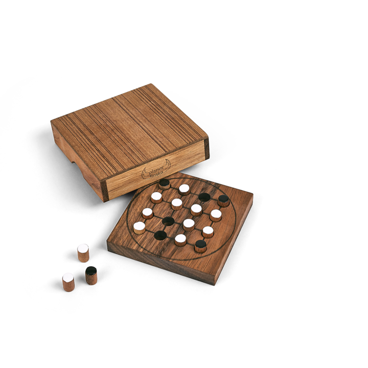 This addictive highly tactical game is also known as Halatafl with Scandinavian roots going back to the 14th Century. The game is unusually asymmetrical meaning that each player approaches it from a different position. The 4 foxes must catch the sheep by jumping them and the 10 sheep must herd the foxes so they cannot move. 11cm x 11cm x 2.5cm