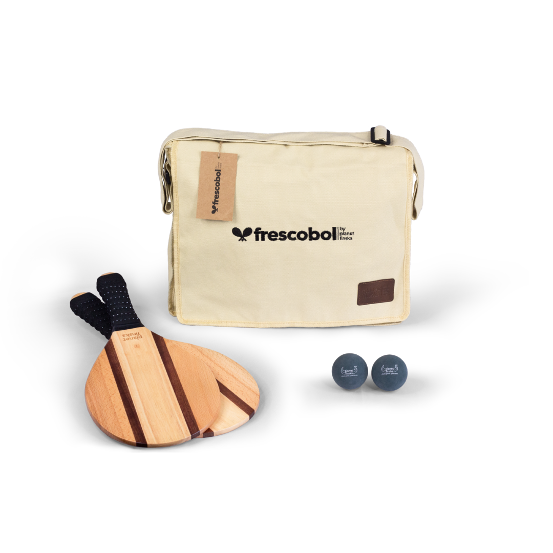 Our Frescobol or Brasilian paddle bat sets come with two premium paddle bats, two balls and canvas satchel with shoulder strap. Copacabana bats are crafted from sapele, maple and beechwood.