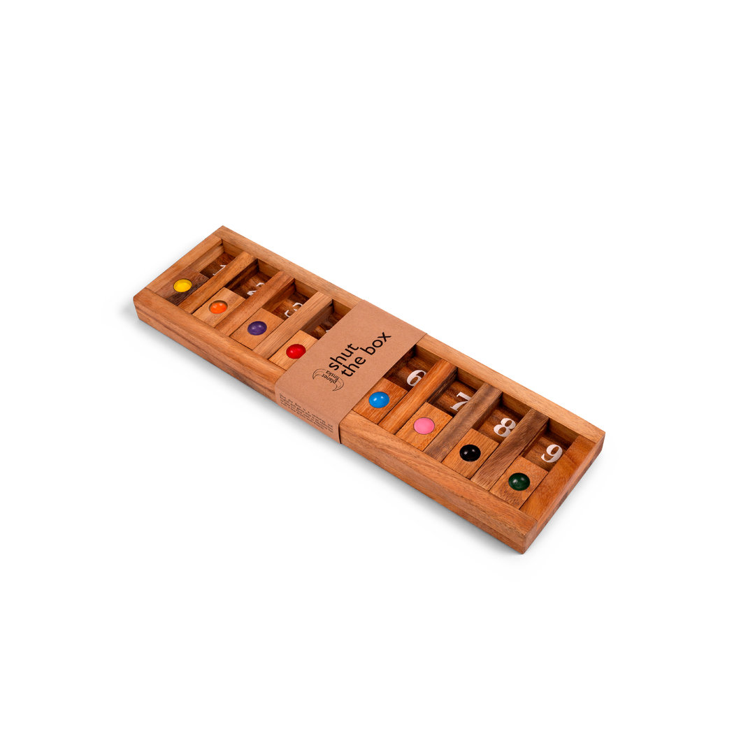 <p>Our premium Shut the Box with a unique more contemporary design. Perfect to sit on a coffee table or bar for a casual game over a drink or coffee.400mm x 115mm x 25mm</p>