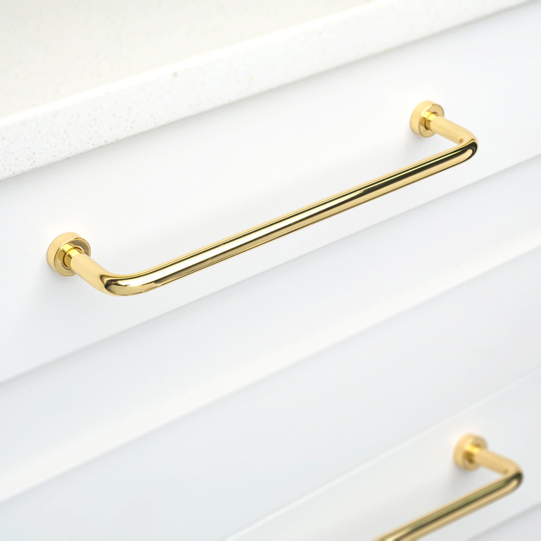 Kitchen Lounge Handle Polished Brass Gloss L795 Installed on Cabinet Drawers
