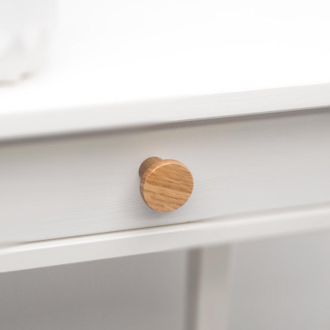 Kitchen Timber Trige Knob Oak 33mm L4317 Installed on a Cabinet Drawer