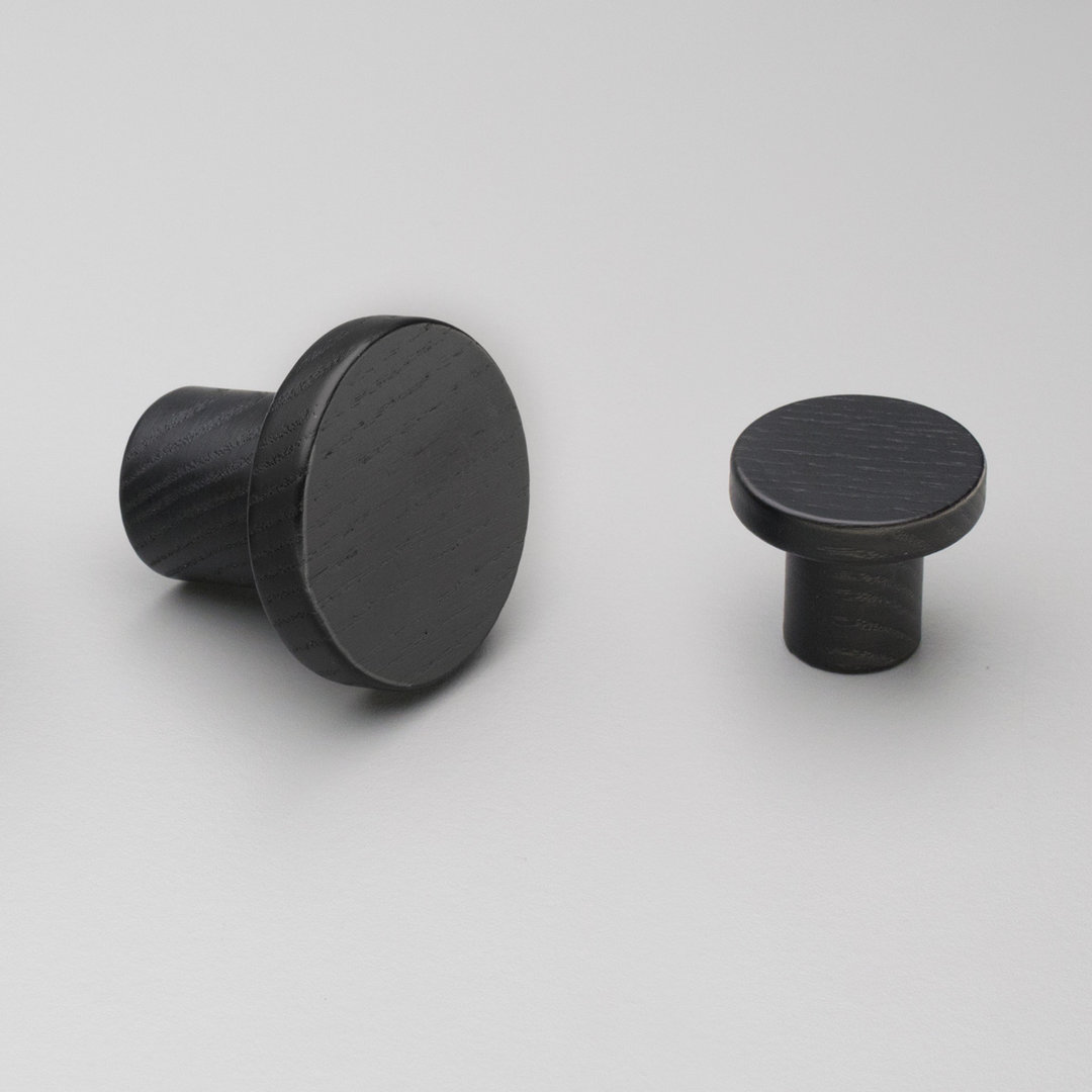 Kitchen Timber Trige Knob Black Stain 48mm & 33mm L4317