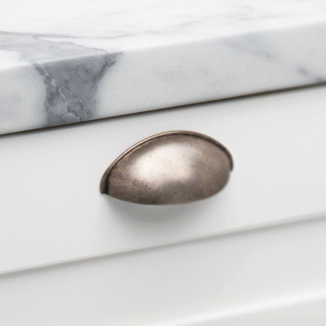 Kitchen Bilbao Shell Handle Oxidised Tin Matt Finish HT023 Installed on a Drawer