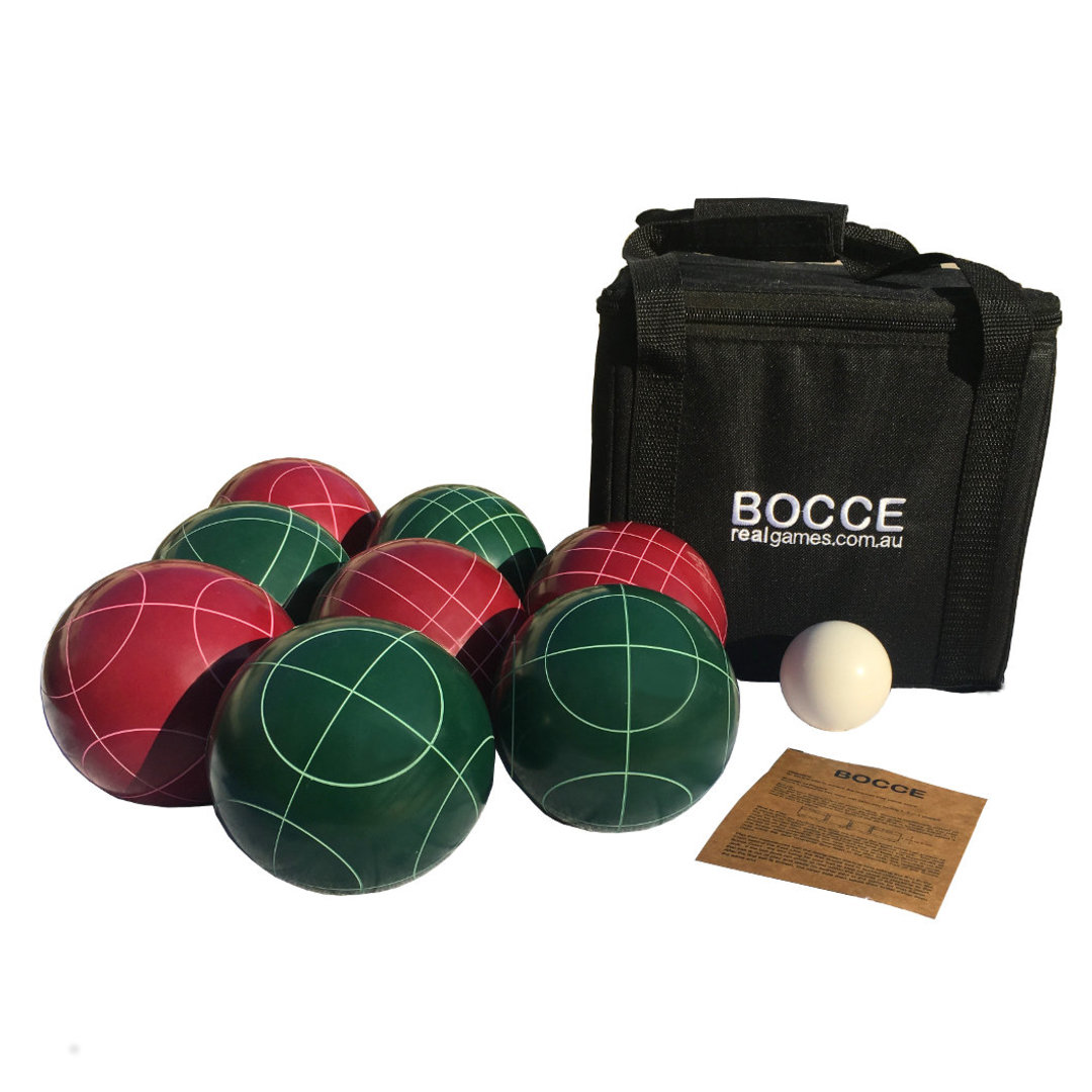 Forget the French, let's go Italian!    This premium set of Bocce includes 8 big bold 107mm bocce balls.  Yes, these are full size 107mm balls.  Each set comprises 2 x 4 balls of each colour and a 60mm pallino all crafted from beautiful and durable polished resin.  The set also includes tough black zip up carry bag with embroidered logo and official bocce rule card.  Each set of 4 balls of the same colour also comprises two balls per groove pattern so 4 players can play with two unique balls per player.