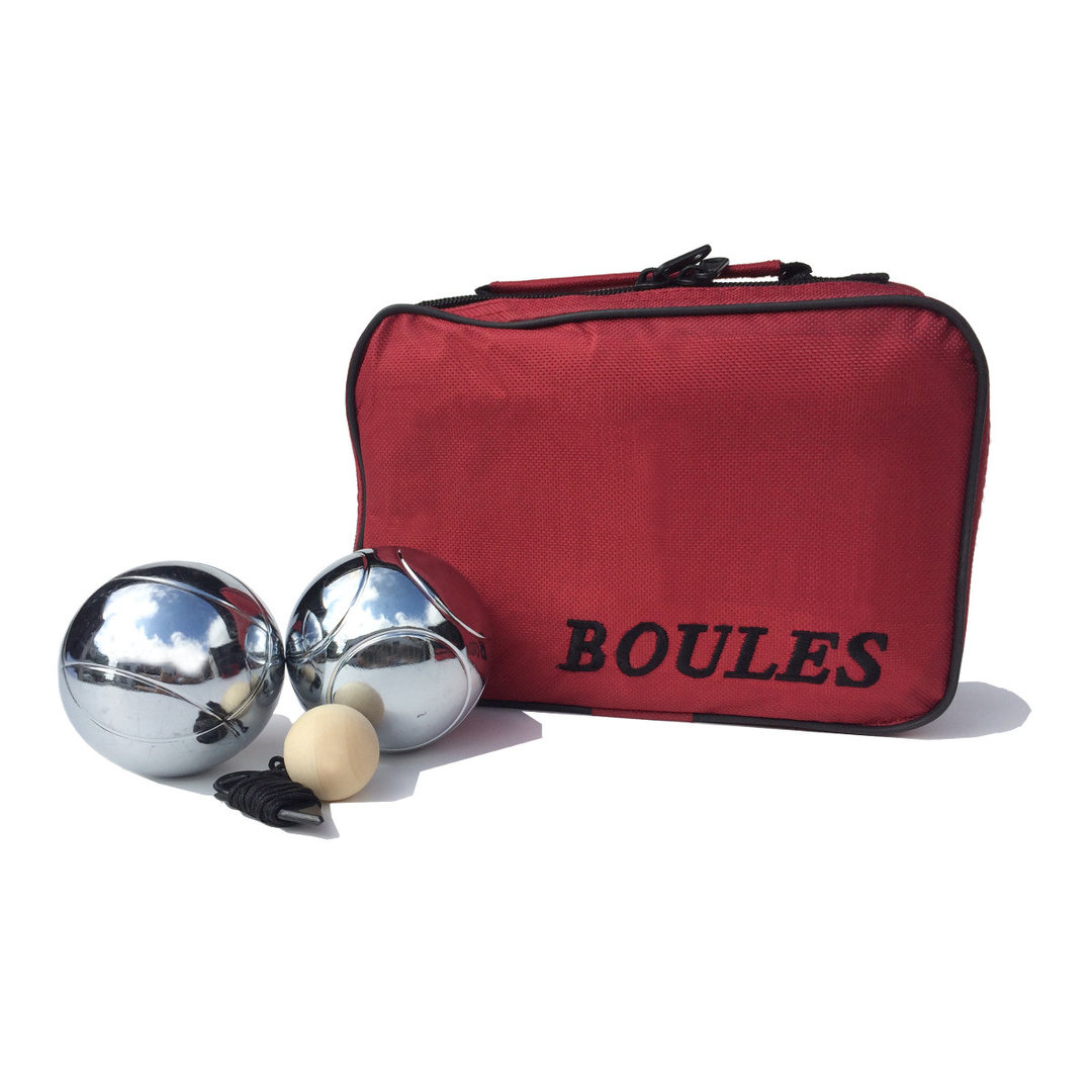 This handy set of six chromium plated polished steel boules is incredibly good value.  Each set comes packaged in a traditional red zip up nylon carry bag and includes 3 pairs of 73mm boules (each pair has its own distinctive pattern), 30mm wooden cachonet, measuring string and rule sheet.