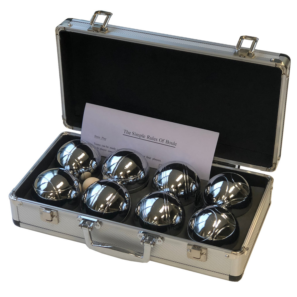This handy set of eight chromium plated polished steel boules is incredibly good value.  Each set comes packaged in a sturdy aluminium carry case and includes 4 pairs of 73mm boules (each pair has its own distinctive pattern), 30mm wooden cachonet, measuring string and rule sheet.