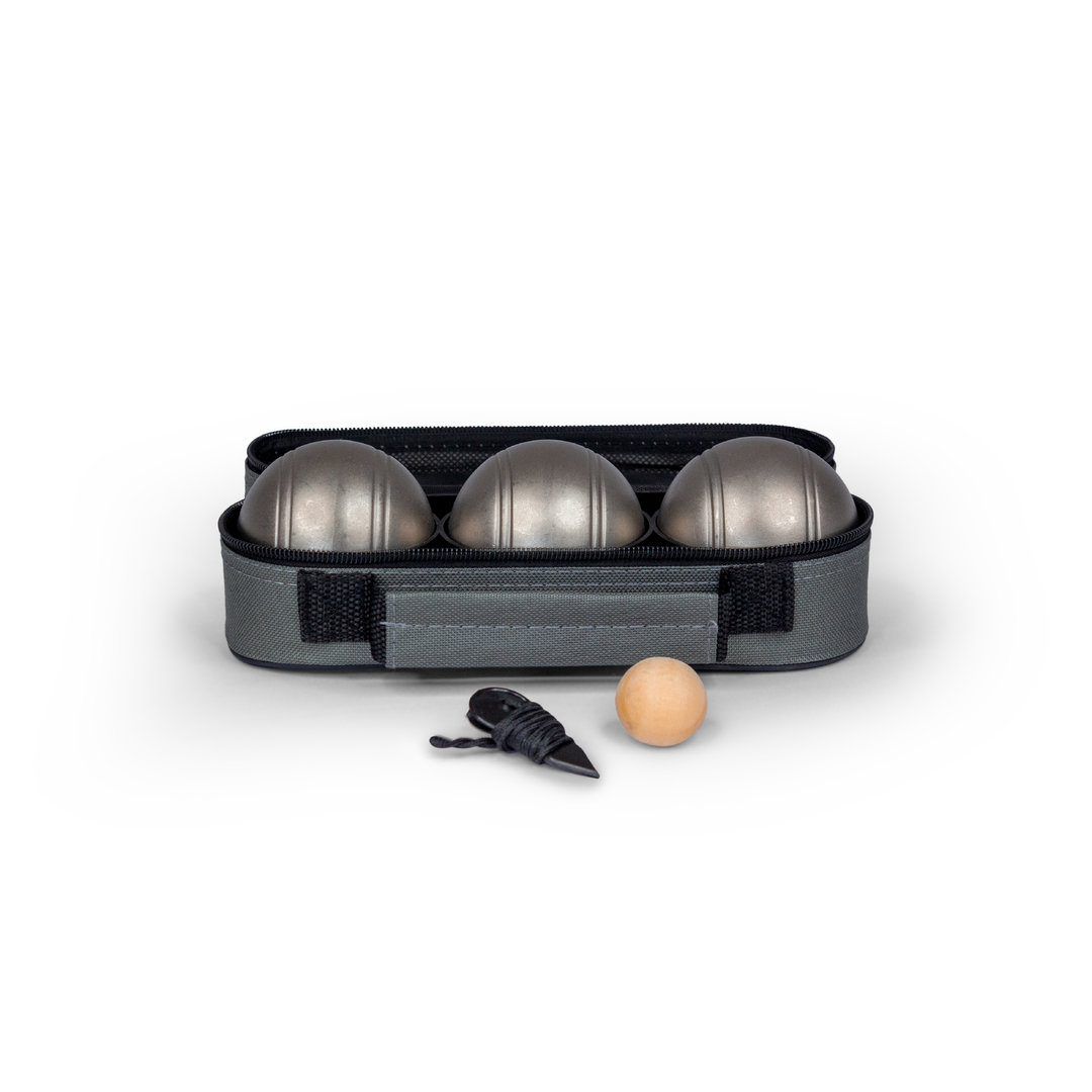 This handy set of three stainless steel boules is incredibly good value. Being stainless steel they are highly durable and will not rust. Each set comes packaged in a smart zip up nylon carry bag and includes 3 x 70mm boules, 30mm wooden cachonet and measuring string.