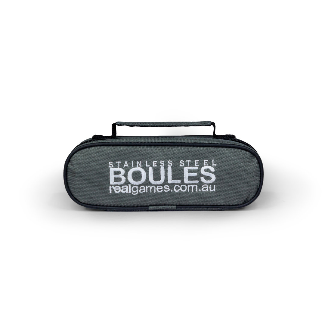 Bundle two sets of our three stainless steel boules for a discount.Each set comes packaged in a smart zip up nylon carry bag and includes 3 x 70mm boules, 30mm wooden cachonet, measuring string and rule sheet.