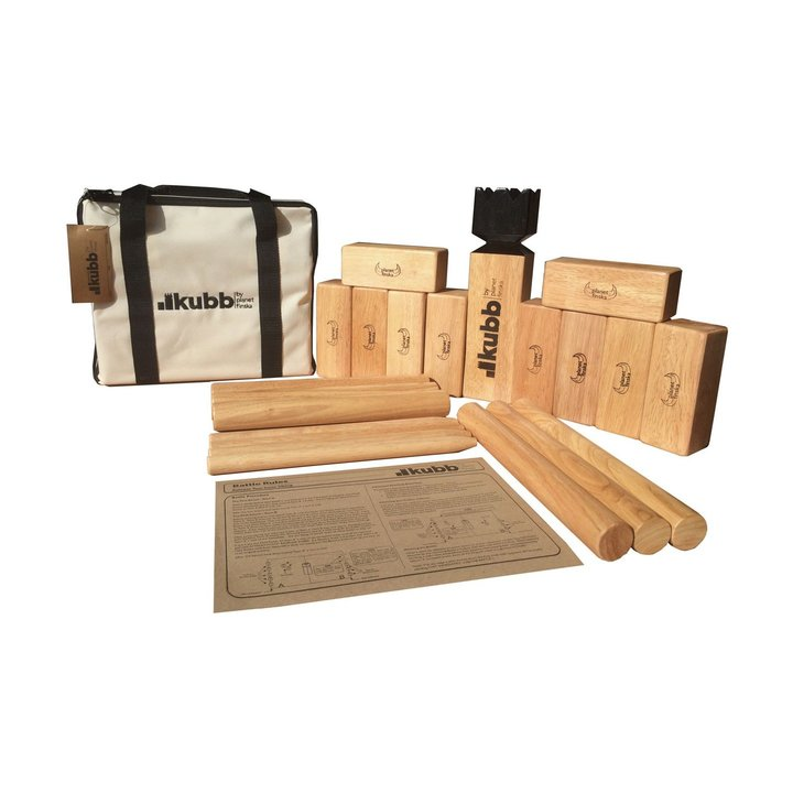 Kubb Premium sets are varnished to preserve and protect the timber. Premium bag artwork is embroidered and all markings on playing pieces have been applied with branding iron.
