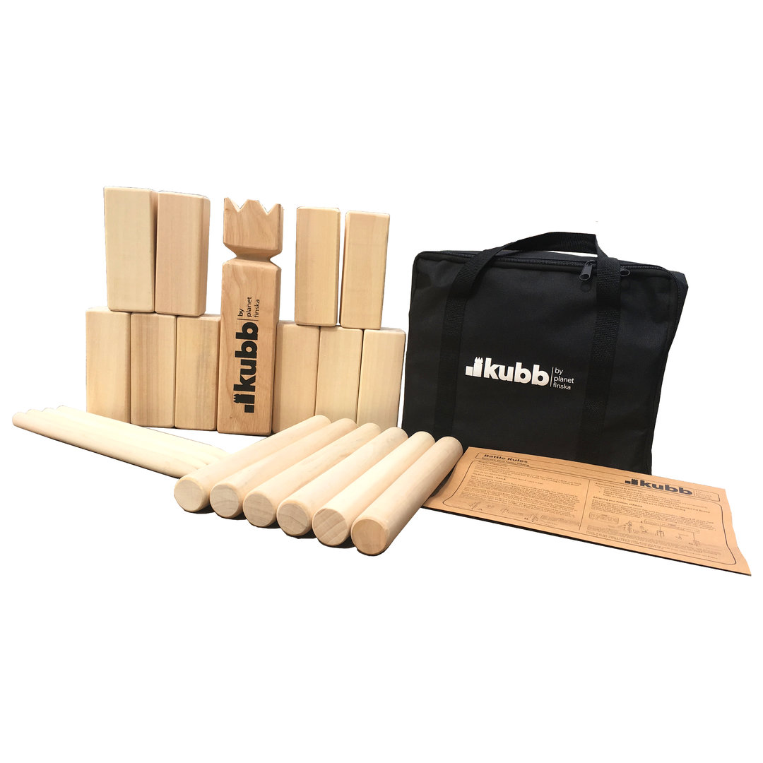 Our original Kubb is crafted from premium birch and comes in a durable black carry bag.