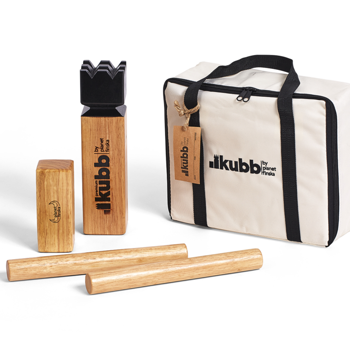 Kubb Premium sets are varnished to preserve and protect the timber. Premium bag artwork is embroidered and all markings on playing pieces have been applied with branding iron.� FREE DELIVERY AUSTRALIA WIDE