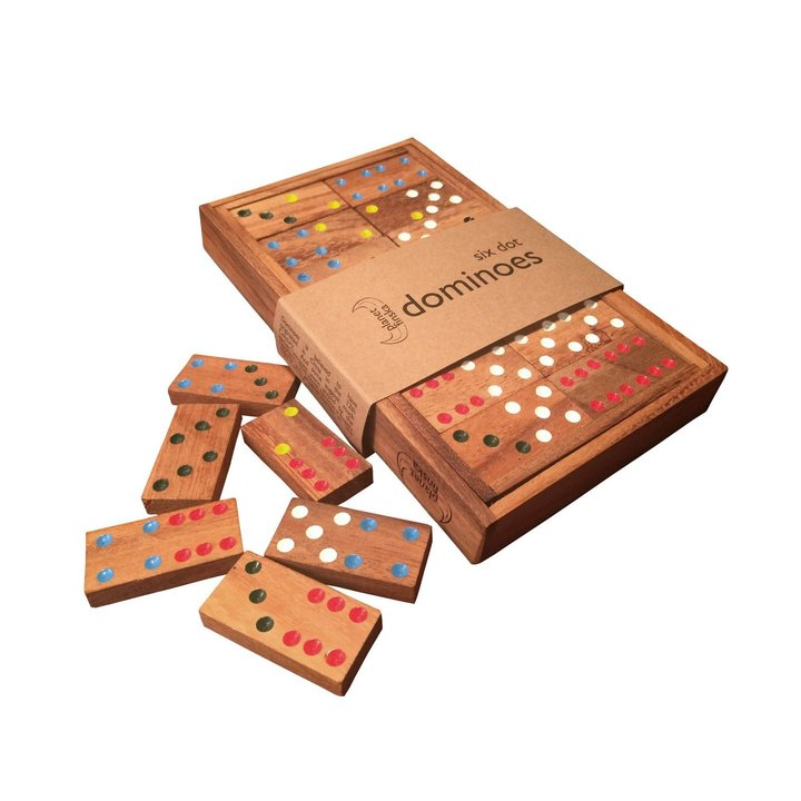 Our handpainted dominoes are presented in beautiful hardwood boxes with lids.  If the traditional 6-dot version isn't enough, upgrade to our 91 tile 12-dot version or our more challenging tri-dominoes set.