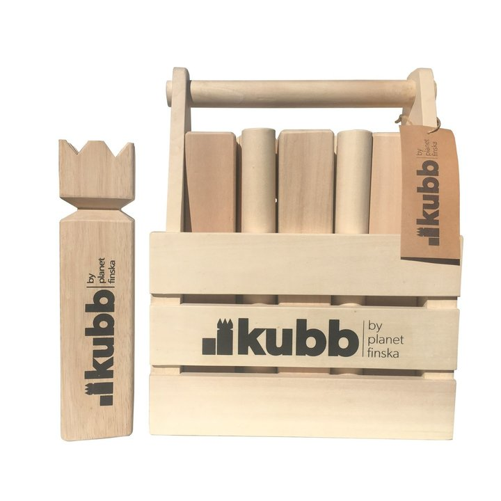 Kubb is an addictive and seriously good outdoor battle game from Sweden.  Also known as Viking Chess, Kubb is the perfect way to deliver laughs and entertainment at your next outdoor get together.  Kubb is easy to learn and with each team having between one and six players, Kubb will happily entertain a larger group.  The aim of Kubb is to capture all ten soldiers before taking down the King for victory.