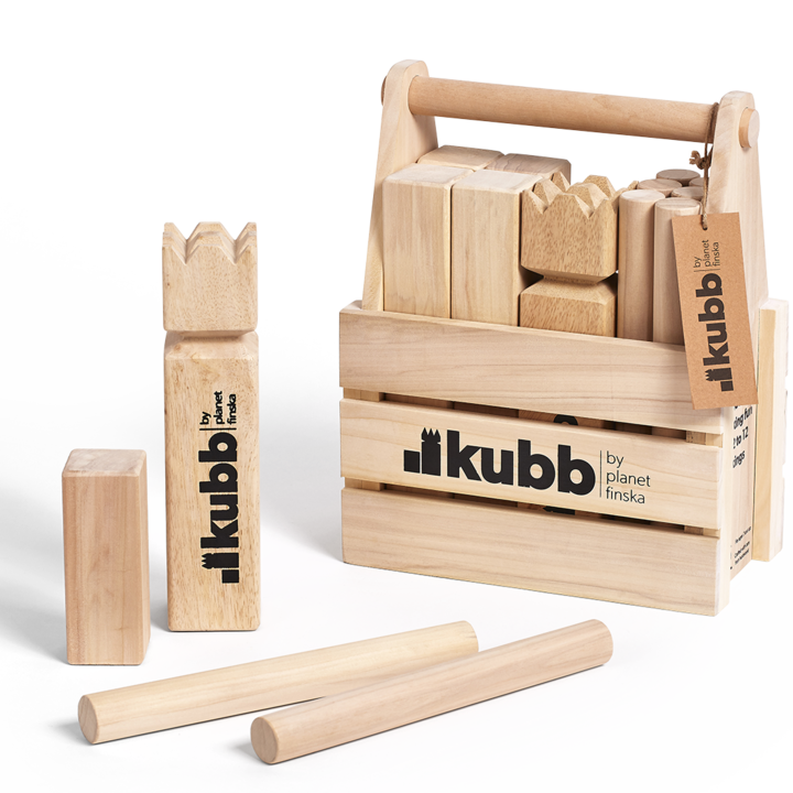 Kubb is an addictive and seriously good outdoor battle game from Sweden.Also known as Viking Chess, Kubb is the perfect way to deliver laughs and entertainment at your next outdoor get together.Kubb is easy to learn and with each team having between one and six players, Kubb will happily entertain a larger group. The aim of Kubb is to capture all ten soldiers before taking down the King for victory.
