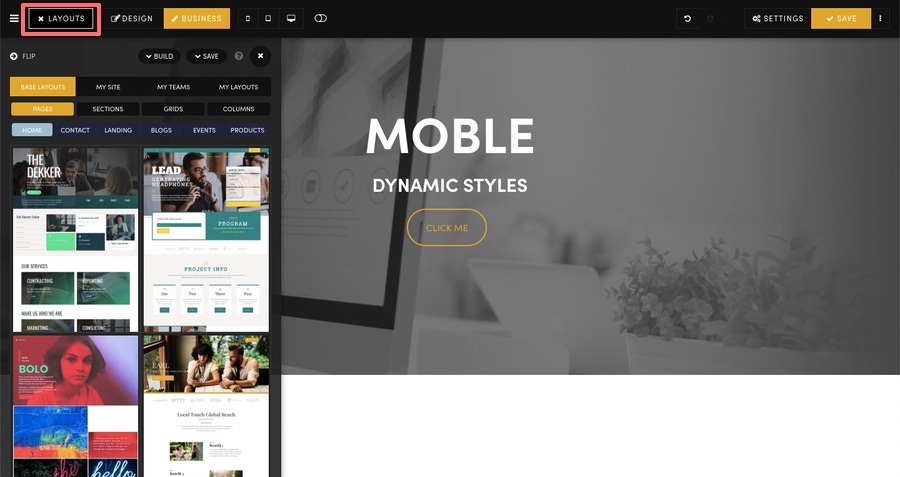 MOBLE CMS Layouts Drawer