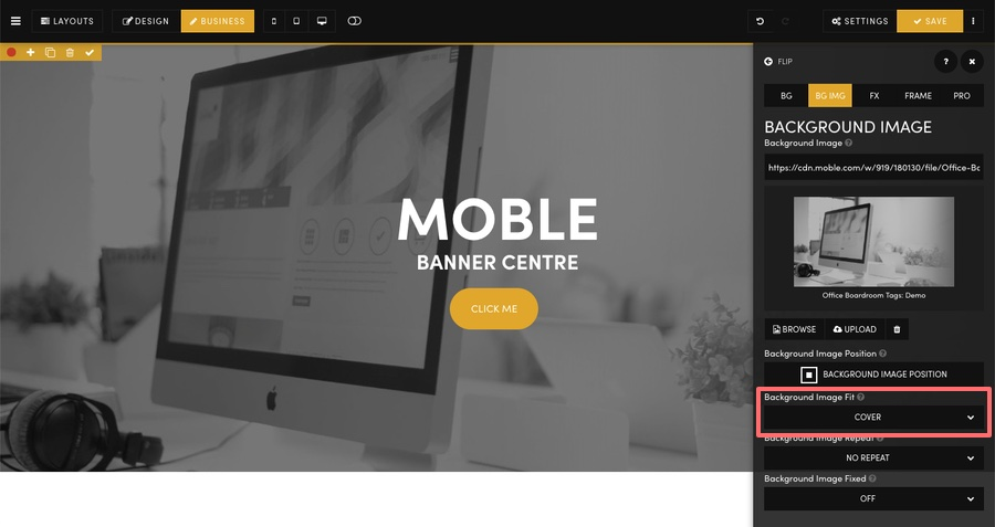 MOBLE CMS Background Image Fit