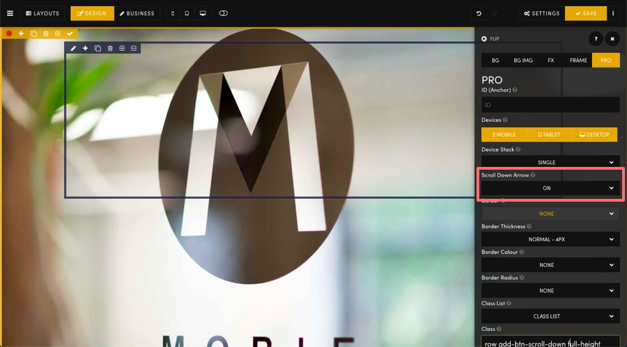 MOBLE CMS Scroll Down Arrow