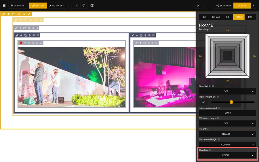 Pages Editor Frame Content Overflow