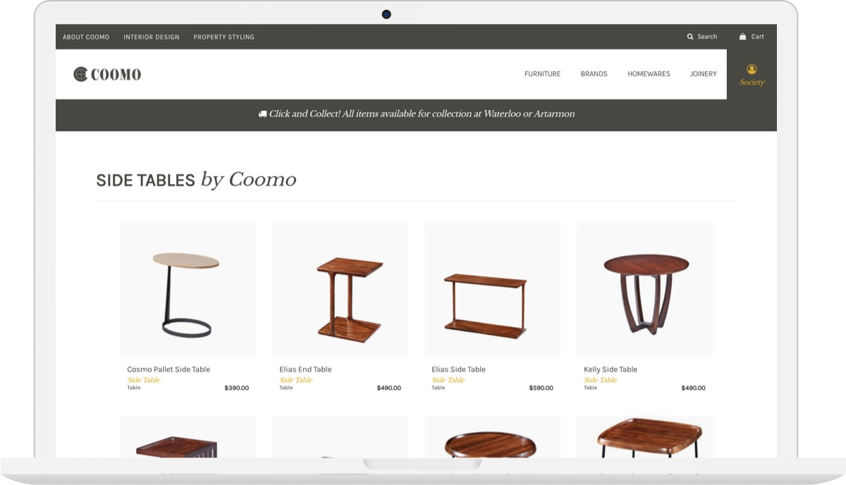 COOMO Ecommerce Design iPad
