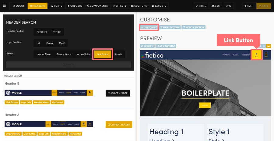 MOBLE CMS Link Button
