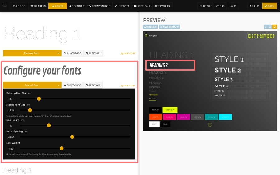 MOBLE CMS Fonts Preview