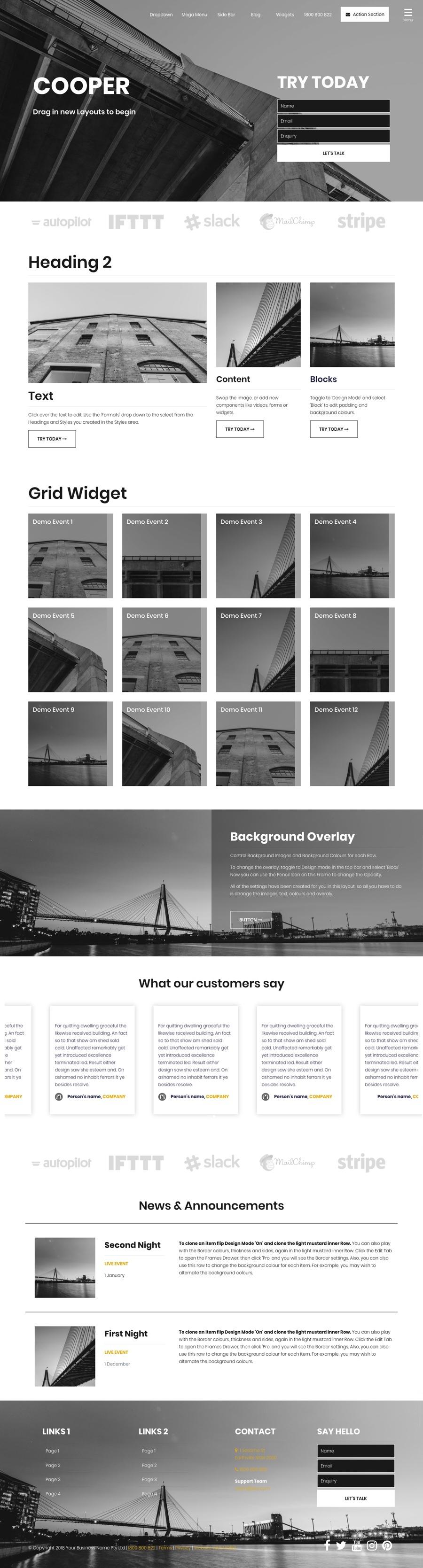 Cooper Website Design Template Home