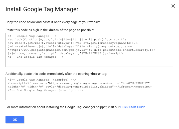 Install Google Tag Manager Code Screen