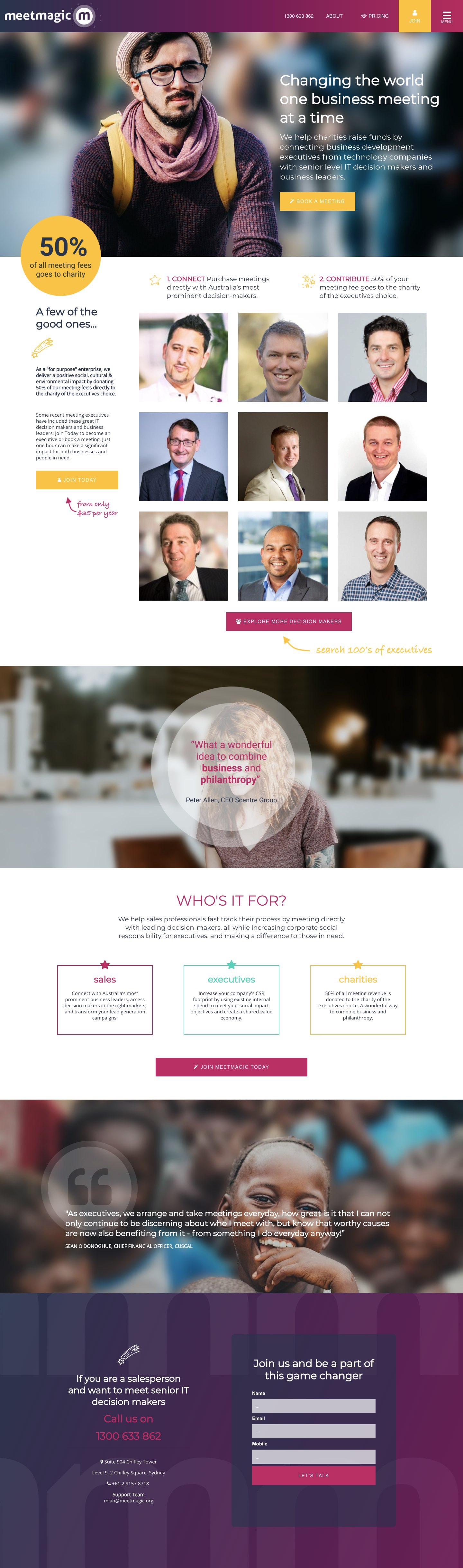 meetmagic full page website design