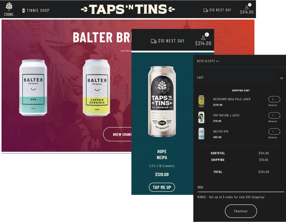 TAPSnTINS Ecommerce