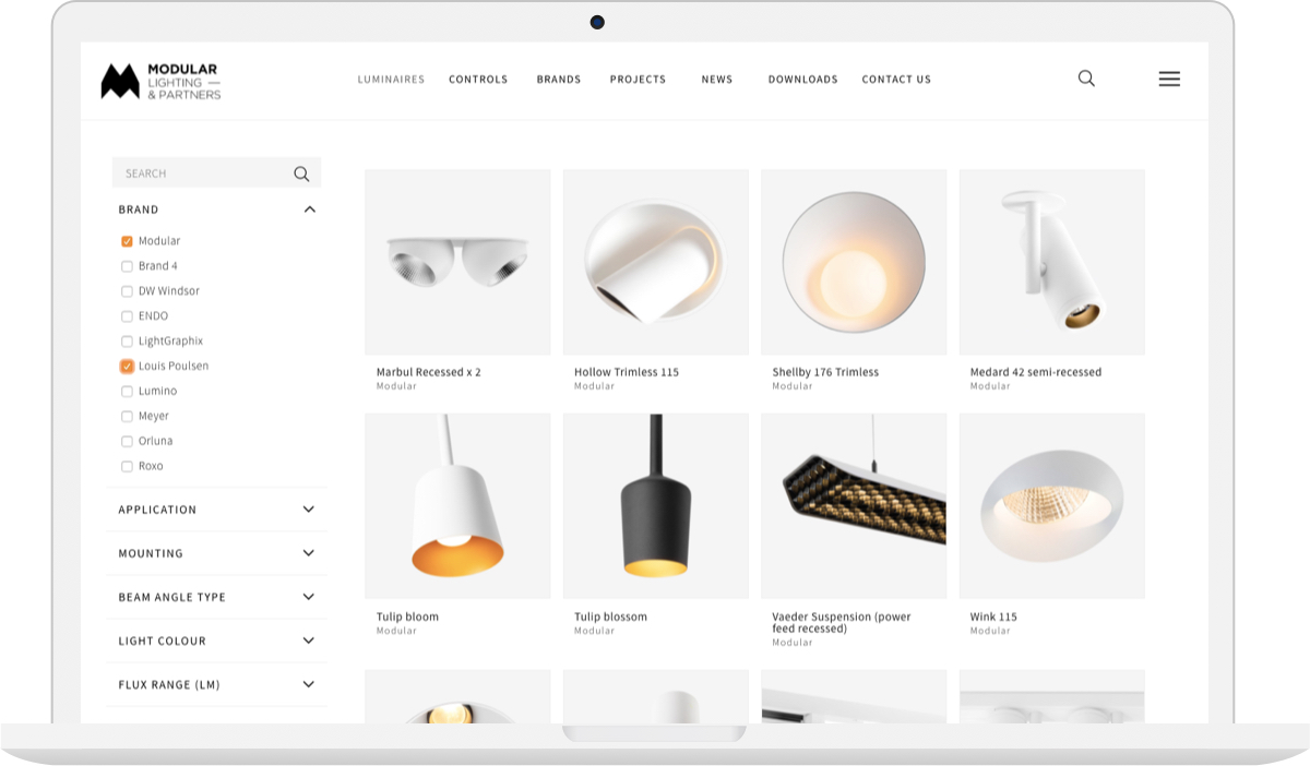 Modular Lighting Advanced Product Search