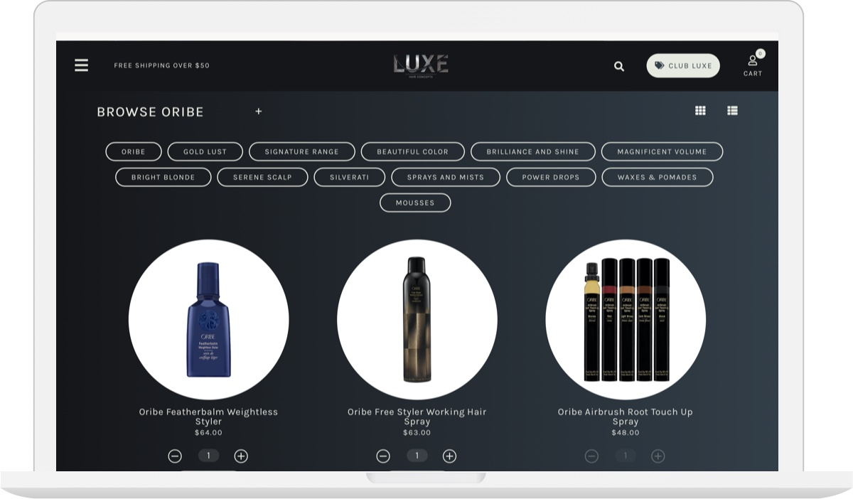 LUXE ECOMMERCE WEBSITE DESIGN MACBOOK