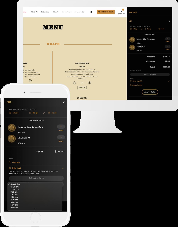 Munchie Picchu Web Design iMac iPhone