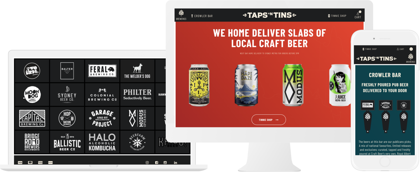 TAPSnTINS Ecommerce Website Design