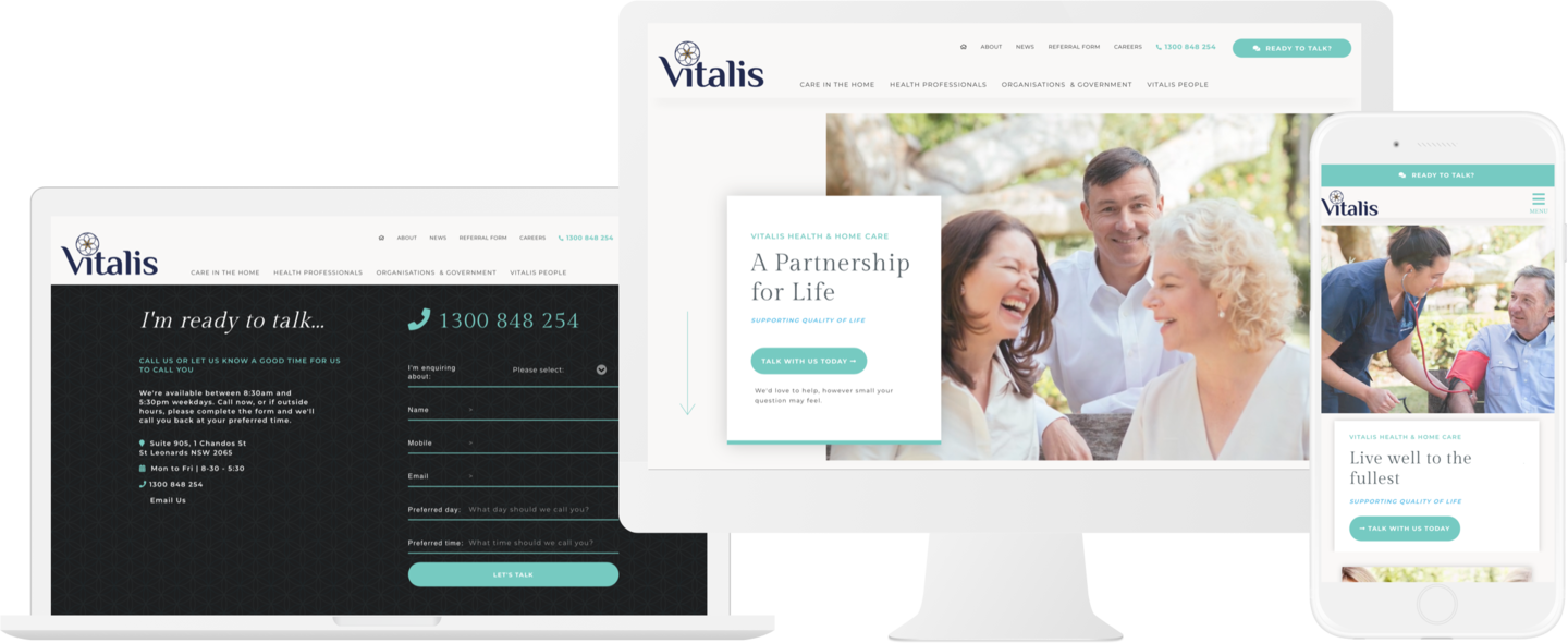 Vitalis Home Care Website Design